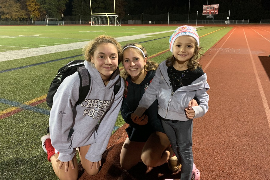 From left, CHS soccer freshman Gabby Tirado and junior Ellie Pergolotti combined on two goals in the first half against visiting Lauralton Hall. Photo taken by Greg Lederer/Cheshire Herald.