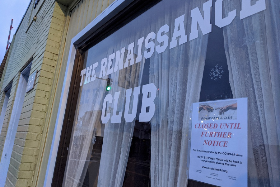 Addiction recovery programs, such the one housed at the Rennaissance Club on Quinnipiac Street, have closed their in-person support groups to comply with temporary restrictions on large gatherings. Support groups for those in recovery will continue online, through video conferences.