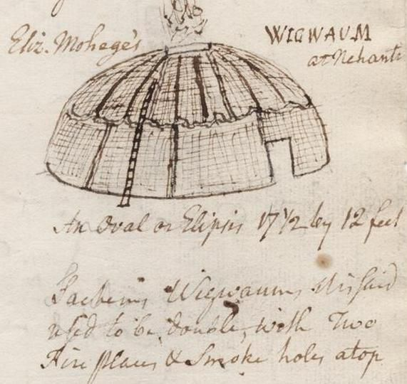 The map below indicates the area in which the Quinnipiac lived. At right, a drawing by famed Yale University President Ezra Stiles (1778 to 1795) shows what a wigwam looked like during his time.