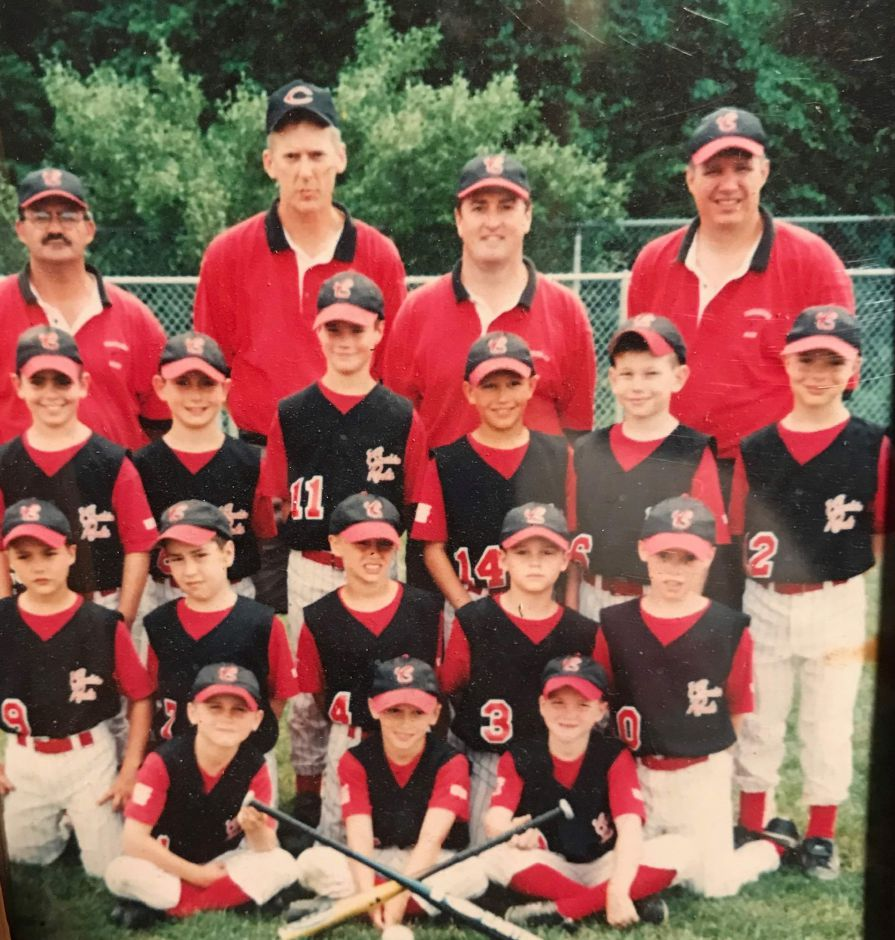 Pictured wearing number 2 in the third row far right, James Marvel helped his Cheshire Reds 8-U team make the American Amateur Baseball Congress World Series in 2002. Photo courtesy of Tom Allard.