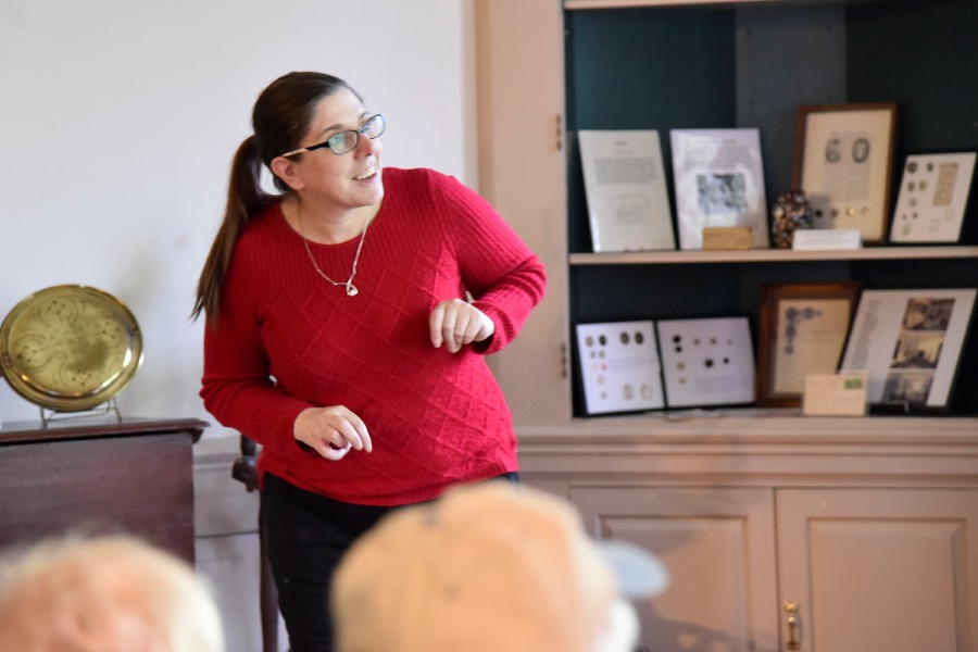 Bailey Wright/Record-Journal – Cheshire resident and State Library's Christine Pittsley, shown speaking in Southington during a recent presentation on WWI, will present an indepth look at slavery in Cheshire on Dec. 9.