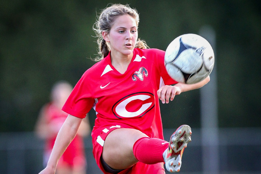 Ellie Pergolotti focuses on the ball this fall. Photo taken by James Brandolini/Cheshire Herald.