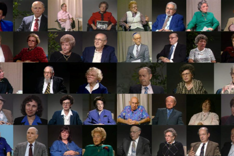"Still images of the men and women, all Holocaust survivors, who provided testimony that appears in the documentary ""Soul Witness."""