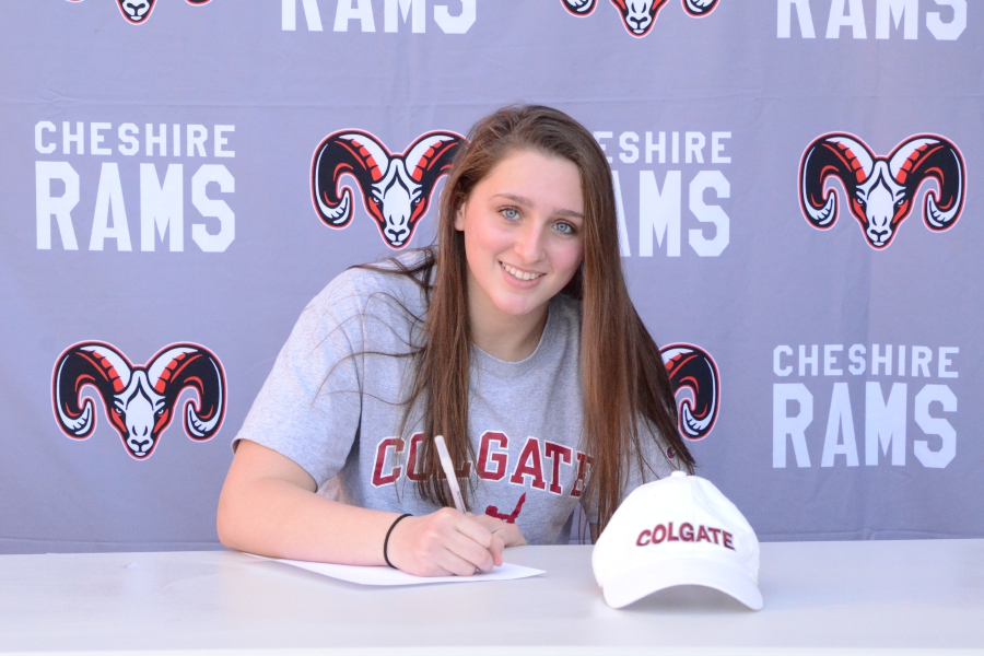 On Nov. 10, Nora Bergstrom was recognized for signing to swim at Colgate University in New York. Photo courtesy of Dan Warburton.