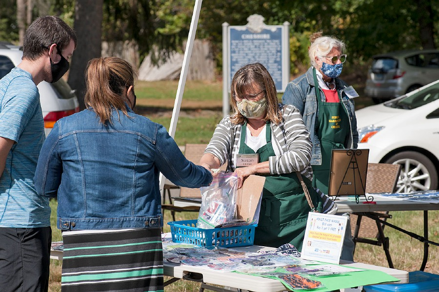 Al Valerio/Cheshire Herald - The Suburban Garden Club were busy making and then selling masks to those interested in keeping safe and giving back to the community. The events were held on consecutive Saturdays, Oct. 3 and 10, on the green in front of First Congregational Church.