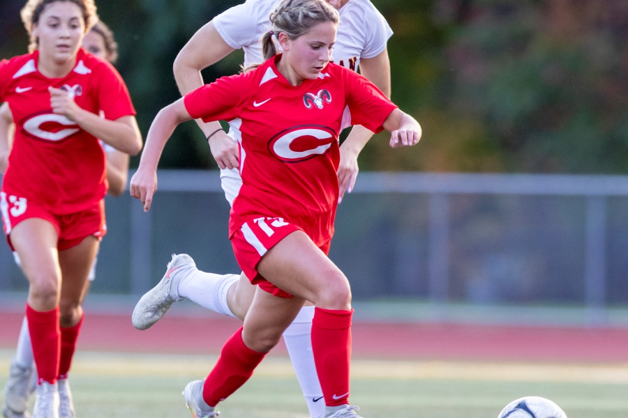 Ellie Pergolotti has been a key offensive player for the Rams girls' soccer team this fall. Photo taken by James Brandolini/Cheshire Herald.