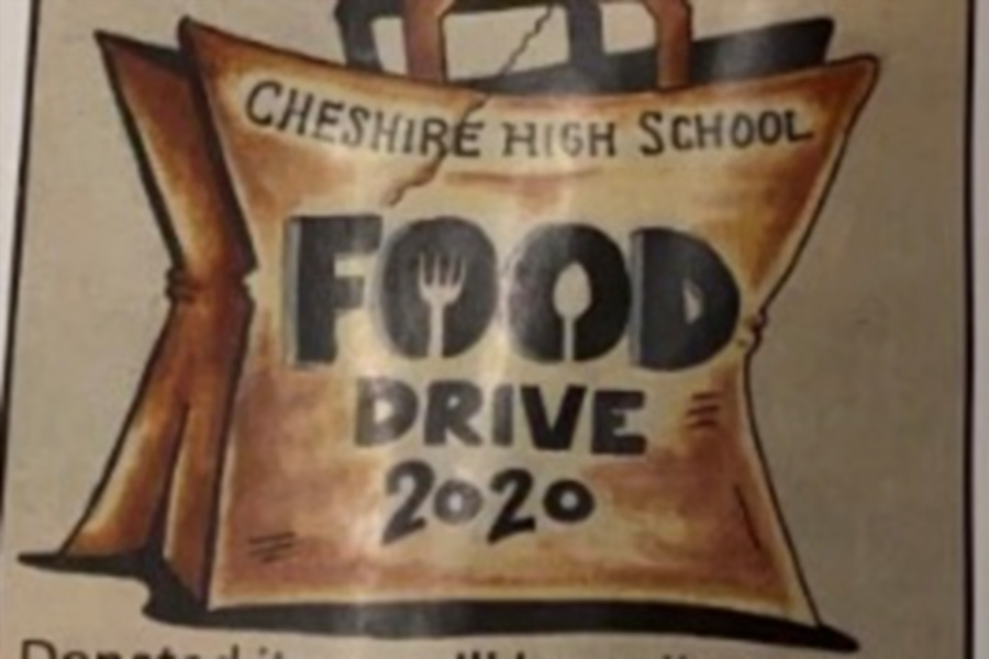 For the 2020 CHS Food Drive, students are dropping off bags at local homes for people to donate items to the Cheshire Community Food Pantry. Photo courtesy of Danielle Hersh.