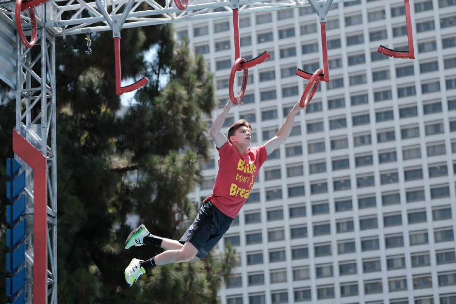 Blake Feero competes on an obstacle course for American Ninja Warrior Junior. Photo courtesy of ANW.
