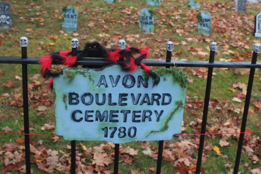 "Mariah Melendez/Cheshire Herald- Sign reads ""Avon Boulevard Cemetery 1780"" at 1112 Avon Blvd in Cheshire."