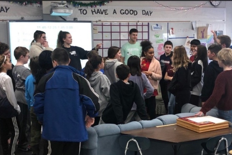 For their peer health educator class, CHS seniors are teaching lessons to elementary school students in Cheshire. Submitted photo.