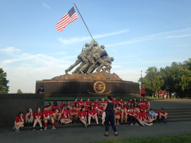 Photo courtesy of Dodd Middle School – Dodd Middle School eighth grade class poses in front of the Marine Corps War Memorial in Washington D.C. during a previous trip.