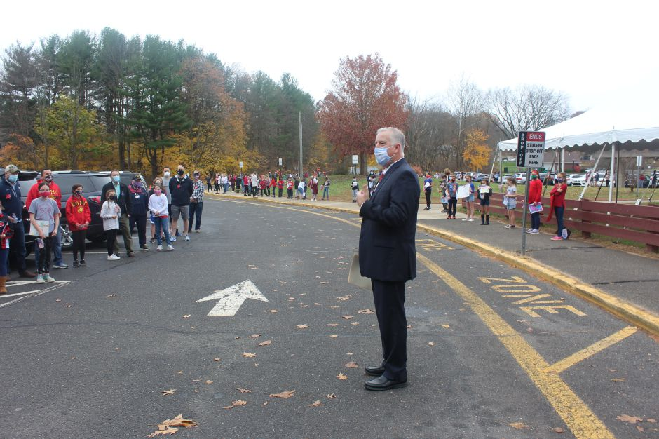 Mariah Melendez/Cheshire Herald- Highland Elementary School Principal Scott Jeffrey addresses the Veterans and their families at the Highland Veterans Day celebration.