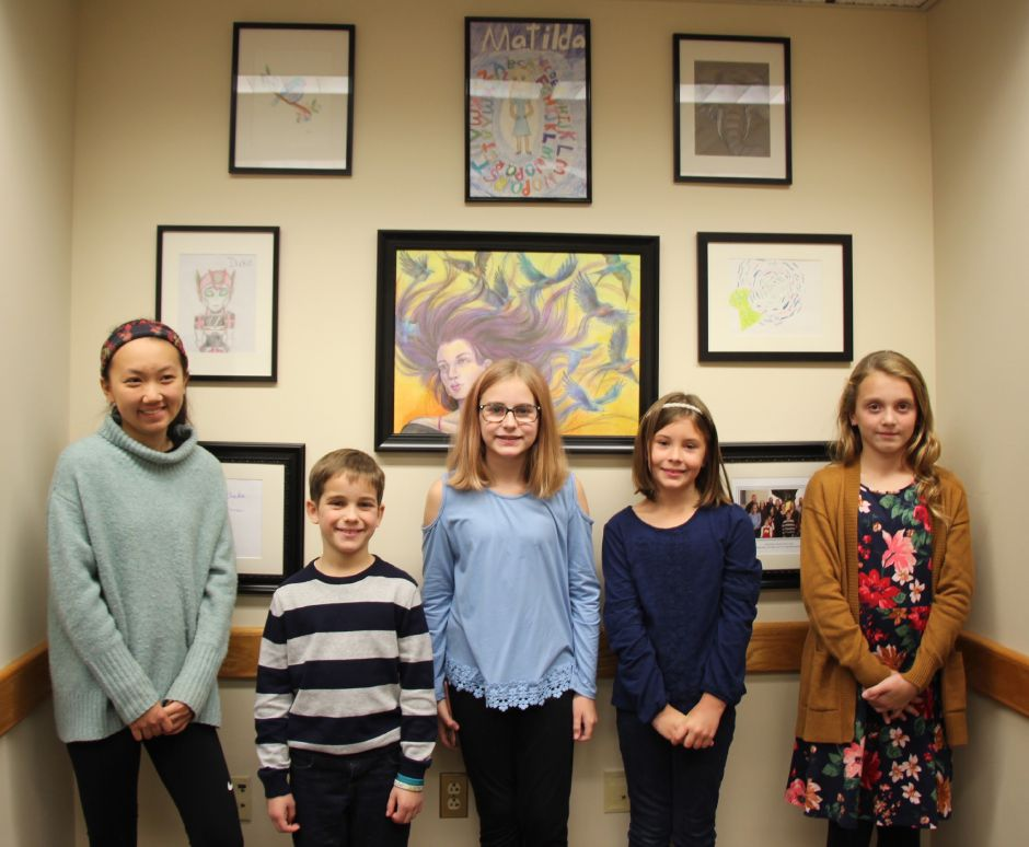 Submitted photo – Young artists from Cheshire, Southington and Wallingford, who were winners in state Rep. Liz Linehan