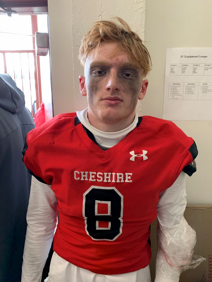 Colby Griffin earned Defensive MVP for Cheshire football. Photo taken by Greg Lederer/Cheshire Herald.