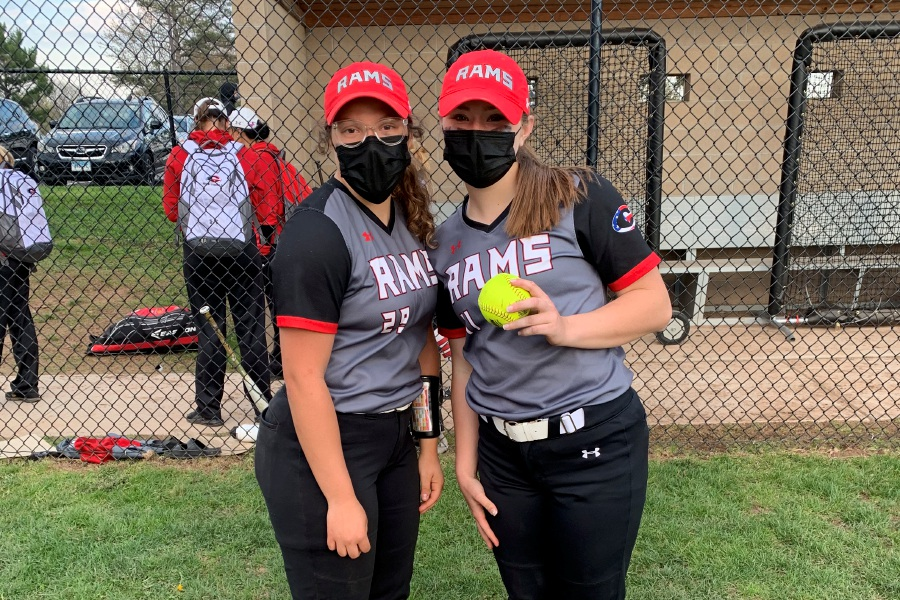 From left, Cheshire softball senior co-captains Trinadey Santiago (catcher) and Bri Pearson (pitcher) combined on a no-hitter against East Haven. Photo taken by Greg Lederer/Cheshire Herald.