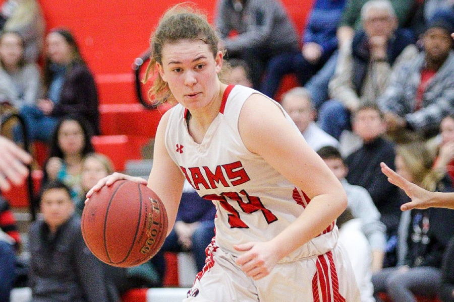 Emma Watkinson dribbles the basketball against West Haven. Photo taken by James Brandolini/Cheshire Herald.