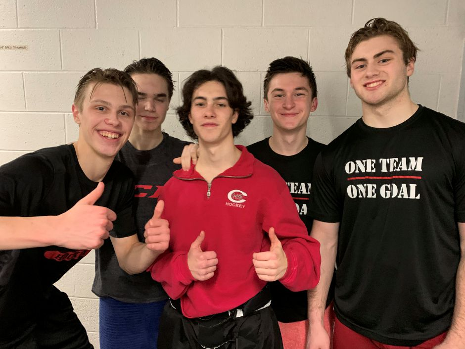 From left, Niklas Vasiljevs, Cullen Wiley, Lorenzo Ocone-Krause, Nick Mongillo, and Nick Maringola contributed to CHS ice hockey picking up their first shutout of the season. Photo taken by Greg Lederer/Cheshire Herald.