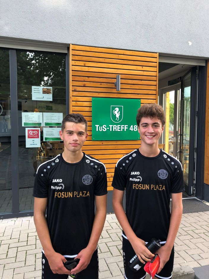 From left, Zack Brown and Marcello Pannone played soccer together in Germany last month. Submitted photo.