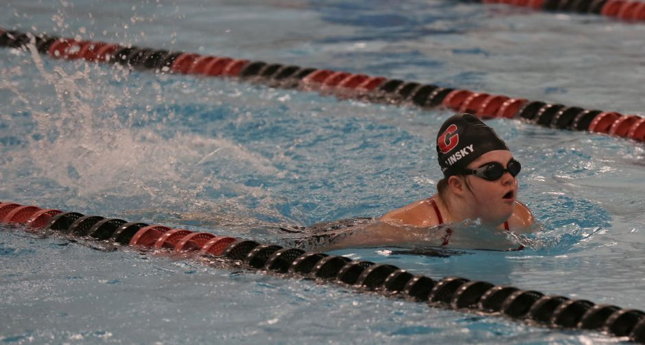 CHS freshman swimmer Sarah Orlinsky surges ahead in the Cheshire Community Pool. Photo taken by Tracey Harrington/Cheshire Herald.