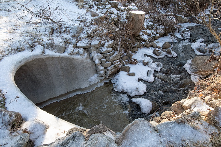 The Cuff Brook culvert on Marion Road in Cheshire, Fri., Dec. 20, 2019. Mismanagement led to the killing of an estimated 150 small fish during repair of the decaying culvert last summer. Dave Zajac, Record-Journal