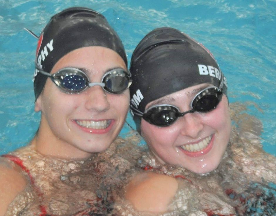 From left, junior swimmers Sophie Murphy and Nora Bergstrom pose for a photo. Submitted photo.