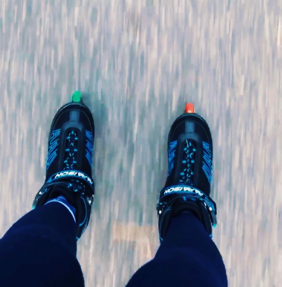 While rollerblading, Alexis Sansone takes a moment to look down at her feet. On May 1-2, the 2012 CHS graduate has pledged to skate for eight miles in the Theresa