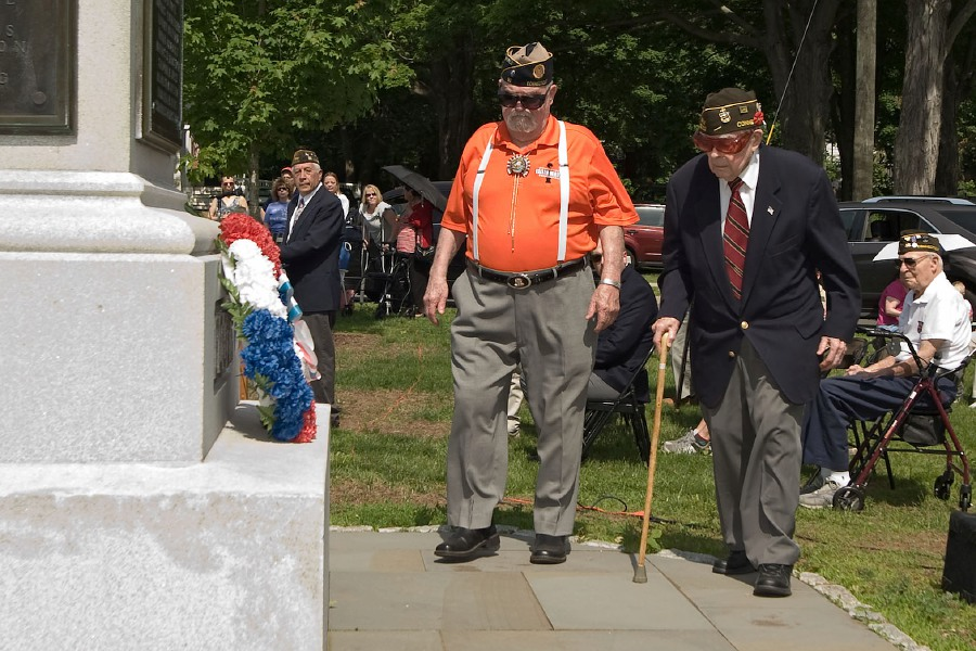 File photo - Veterans participated in the annual Wreath Laying Ceremony the day before the 2018 Memorial Day Parade in Cheshire.