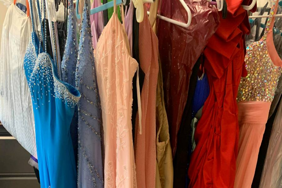 Collection of dresses CHS student Madelyn Falcone has gathered. Submitted photo by Madelyn Falcone.
