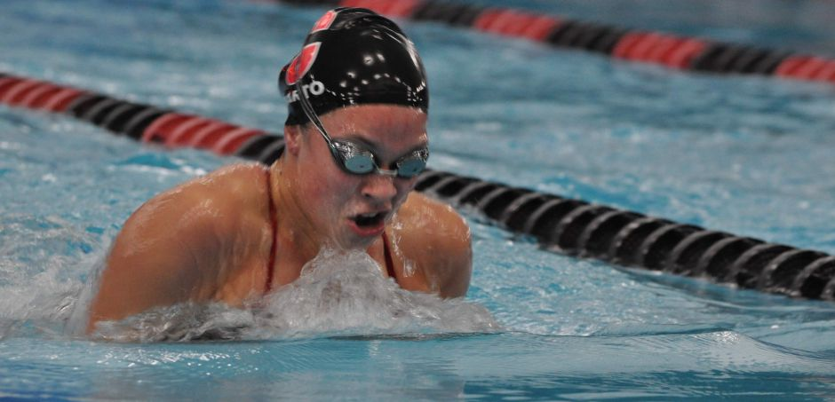 Mary Barto comes up for a breath in swimming breaststroke at the Cheshire Community Pool. Photo courtesy of Shari Grayson.