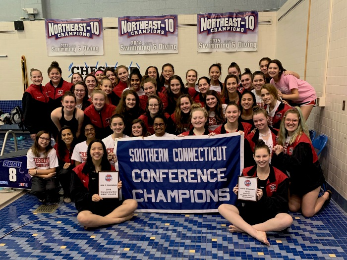 On Nov. 4, CHS girls' swim and dive captured their eighth consecutive Southern Connecticut Conference title and 25th overall at SCSU. Photo taken by Greg Lederer/Cheshire Herald.