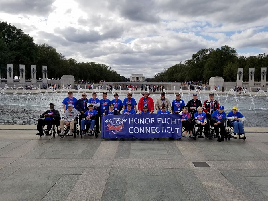 Submitted photo – The participants of the inaugural trip by the Connecticut chapter of Honor Flight posed for a picture in front of the World War II memorial in Washington, D.C.