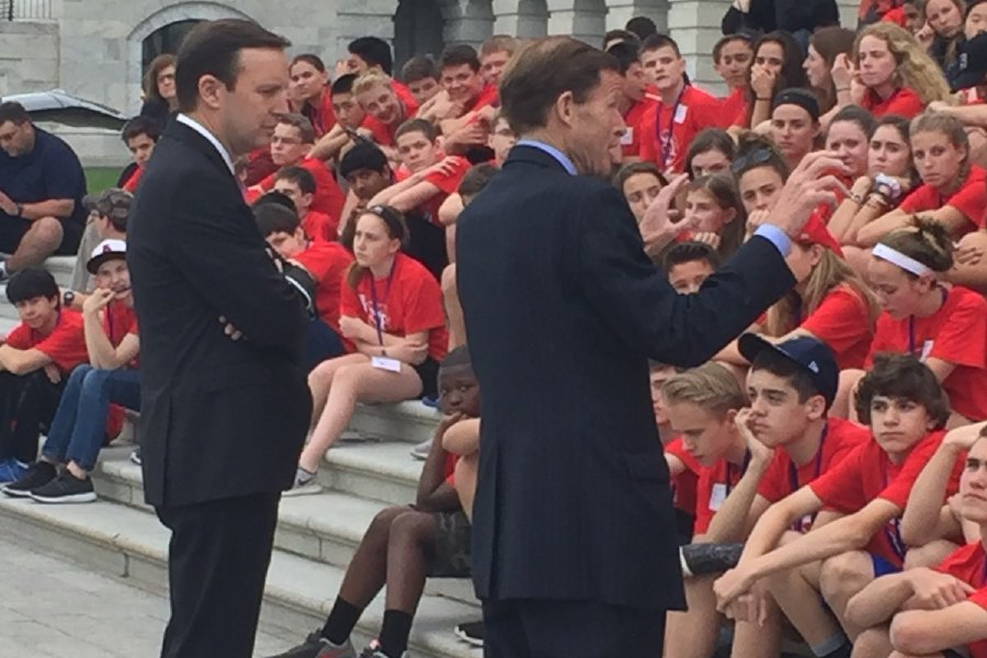 Photo courtesy of Dodd Middle School – Connecticut Democratic Senators Chris Murphy and Richard Blumenthal speak to Dodd Middle School eighth grade class at Washington D.C.