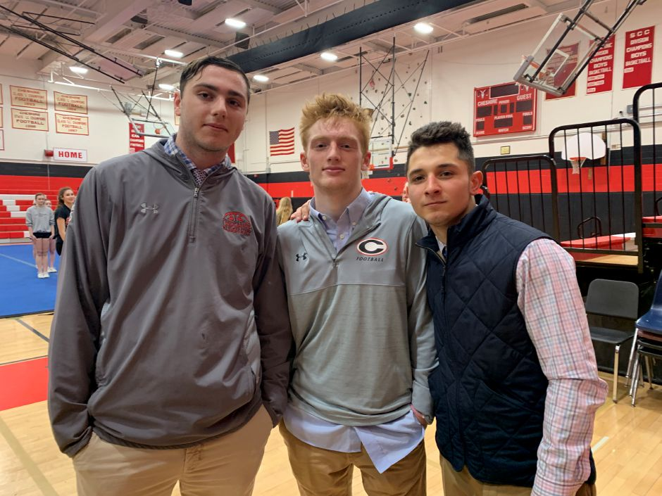 From left, Dylan Fohl, Colby Griffin, and Alec Frione combined for 45 points to propel CHS boys