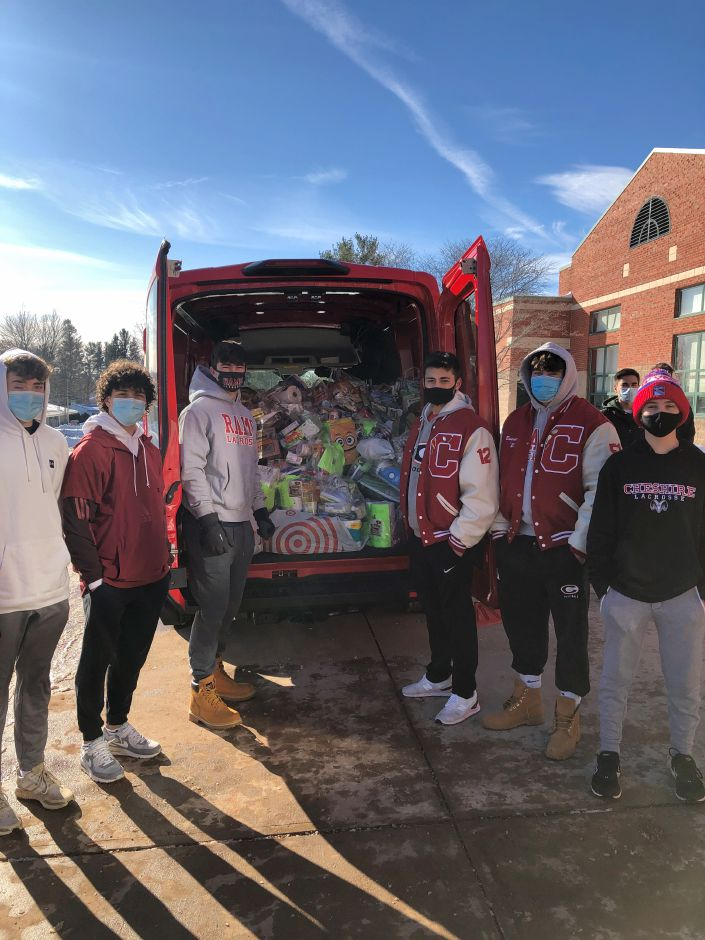 On Dec. 19 of last year, Cheshire students helped load up donations for the Cheshire Community Food Pantry. Submitted photo.