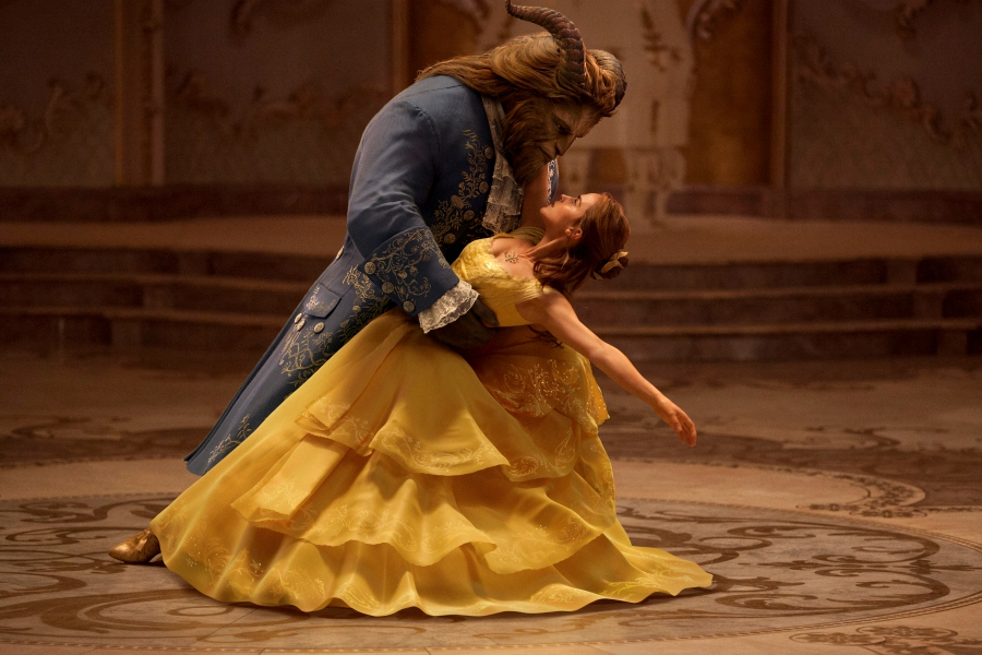 "FILE - This file image released by Disney shows Dan Stevens as The Beast, left, and Emma Watson as Belle in a live-action adaptation of the animated classic ""Beauty and the Beast."" (Disney via AP, File)"