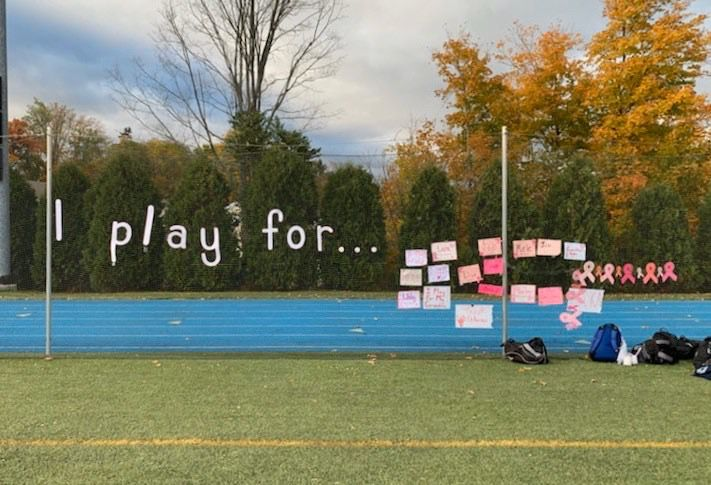 On Oct. 18, Cheshire Academy field hockey players dedicated their Pink Game to friends and family members impacted by cancer. Photo courtesy of Riley Norwood.