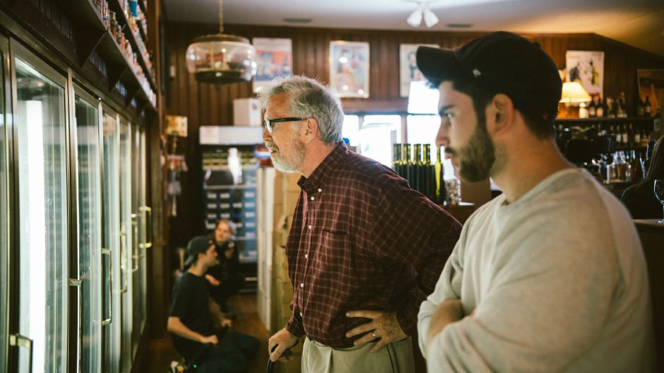 Photo courtesy of Devin Peluso - Actor Steve Coulter (left) takes some instruction from director Devin Peluso.