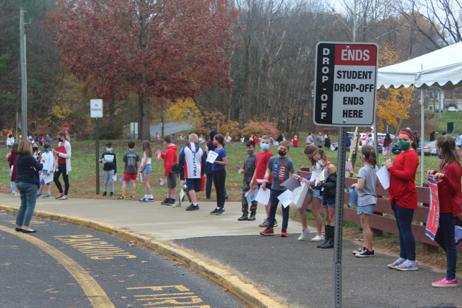 Mariah Melendez/Cheshire Herald- Highland Elementary School's 4 through 6th grade students lined the parking lot for the Veterans Day walking Parade.