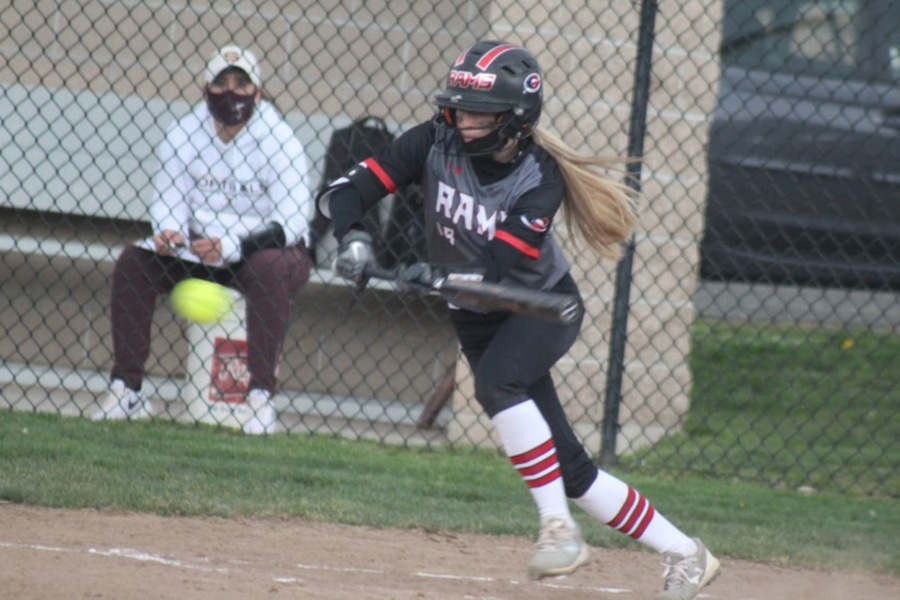 Cheshire junior shortstop Grace Lurz prepares to slap the softball at the plate. Photo courtesy of Cherie Hemstock.