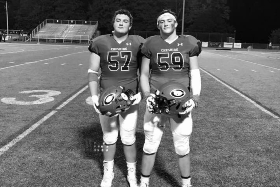 From left, linemen Sean Cangiano and Will Bergin will keep playing football after graduating from CHS. Submitted photo.