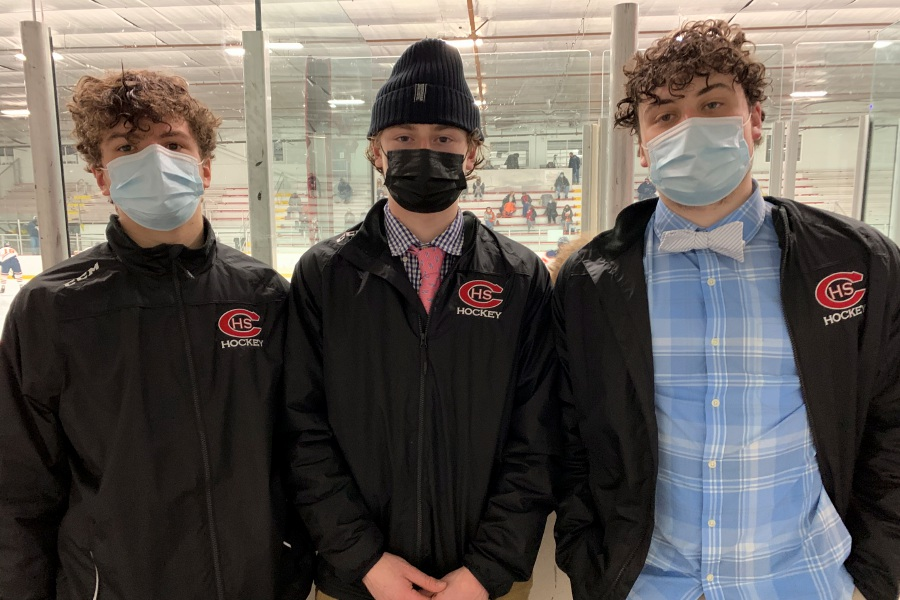 From left, CHS ice hockey sophomore Will Gaudet and senior assistant captains Thor Novicelli and Aidan Gaudet scored goals against Sheehan. Photo taken by Greg Lederer/Cheshire Herald.