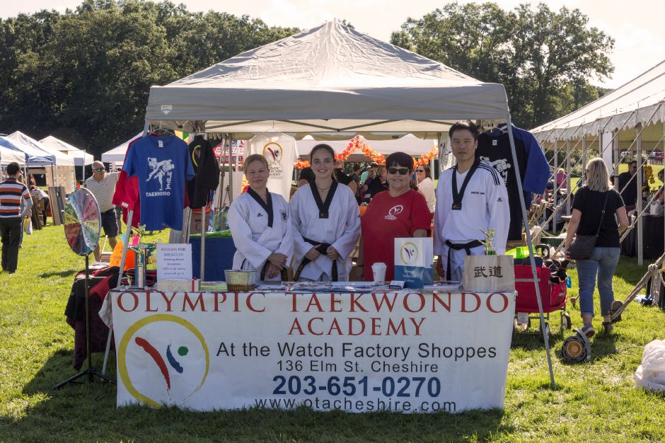 Tracey Harrington/Cheshire Herald – Members of Olympic Taekwondo Academy manned their booth at the 2019 Cheshire Fall Festival & Marketplace.