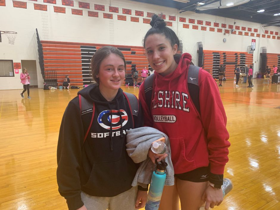 From left, seniors Ari Perlini and Lindsey Abramson are co-captaining the CHS girls' volleyball program. Photo taken by Greg Lederer/Cheshire Herald.