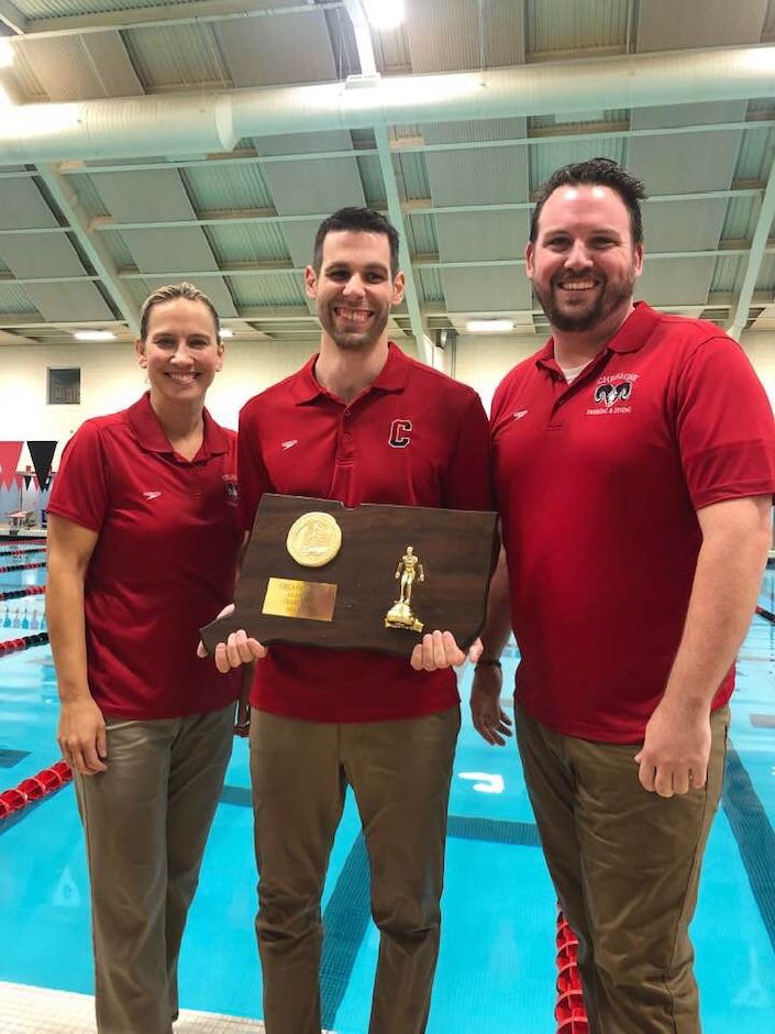 From left, Diving Coach Patty Conte, Head Coach Dave Modzelewski, and Assistant Shea Moriarty have claimed three perfect regular seasons, three SCC crowns, two class championships, and a State Open title with CHS girls