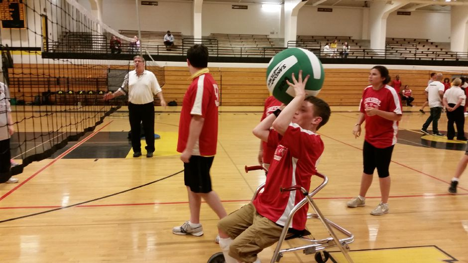 Submitted photo – Members of the Unified Sports Team at Cheshire High School practice volleyball techniques.