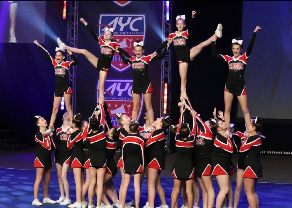 Cheshire cheerleaders perform their routine on the national stage. Submitted photo.