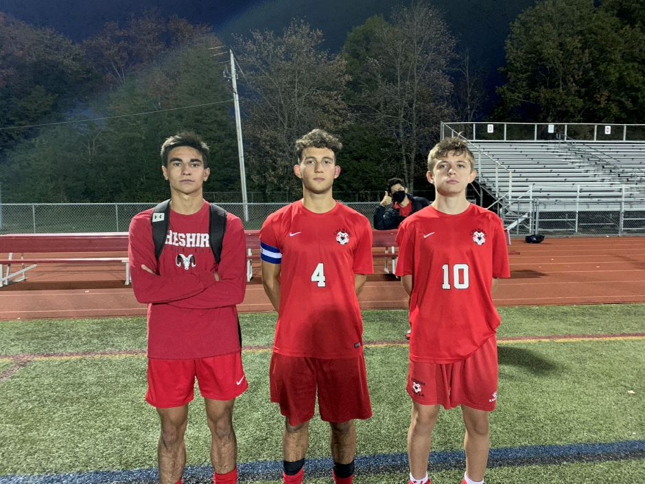 From left, Max Manware, EJ Gonzalez, and Samir Dishnica helped Rams boys