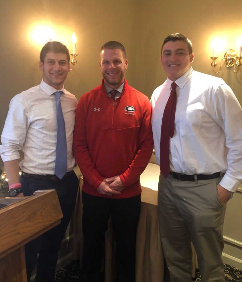 From left, CHS football senior co-captain Jason Shumilla, Head Coach Don Drust, and senior co-captain Will Bergin attended the Apple Valley Classic Luncheon on Nov. 20 at the Manor Inn in Southington. Photo courtesy of Cheshire Athletic Director Steve Trifone.