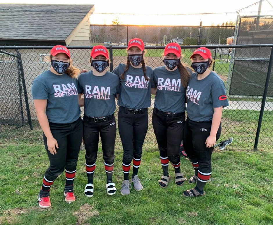 From left, senior co-captains Trinadey Santiago, Ella Watson, Dee Floyd, Bri Pearson, and Gracie Hemstock will play key roles for Cheshire softball this year. Photo taken by Greg Lederer/Cheshire Herald.