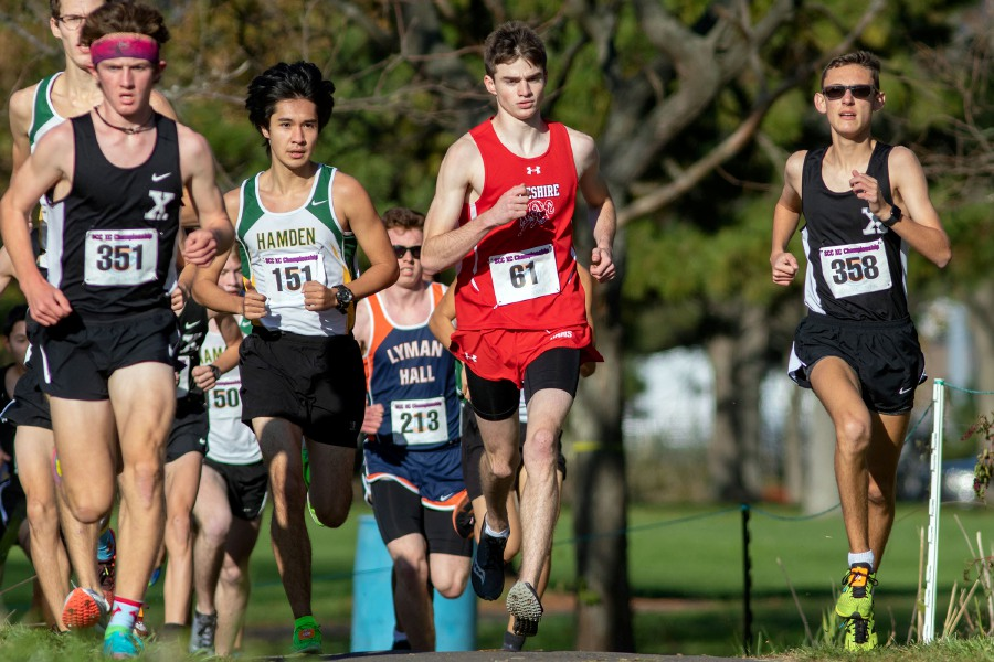 Ryan Farrell runs with the lead pack during the start of the SCC Division D race at East Shore Park. Photo taken by Aaron Flaum/Record-Journal.
